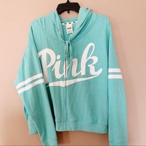 VS Pink Zip up Turquoise Hoodie Sweater Size Large